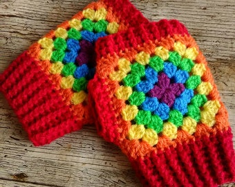 Rainbow fingerless gloves/wristwarmers. Handmade crochet adult mitts. *MADE TO ORDER*