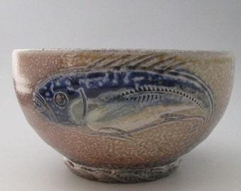 Bowl with fish wood fired salt glazed