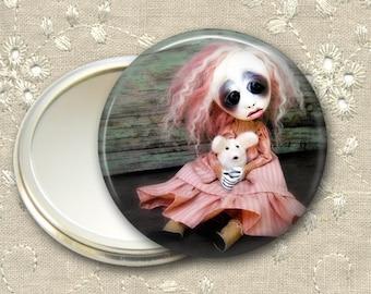 gothic doll pocket mirror,  original art  hand mirror, mirror for purse, bridesmaid gift, stocking stuffer MIR-AD5