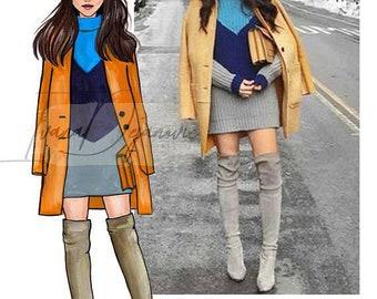 Custom Fashion Illustration Custom Watercolor Illustration Custom Illustration from Photo Custom Portrait From Photo Fashion Art