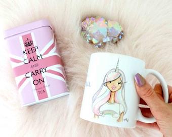 Unicorn Girl coffee mug, unicorn coffee mug, 11 Oz unicorn coffee mug, unicorn mug, unicorn ceramic mug by Josefina Fernandez