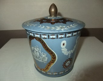 Vintage  Riley Brothers Toffee Candy Tin Halifax England 1950,s Grecian pattern