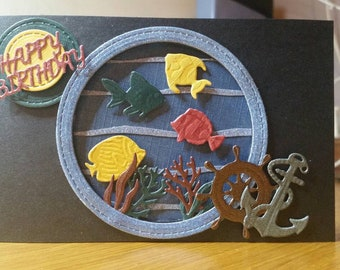 Beautiful Hand Made Happy Birthday cards. Relief embellishments. Customisable.