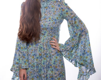 1970s Blue Floral Full Length Dress