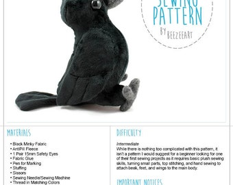 Crow Plush, Raven Plush, Bird Stuffed Animal Sewing Pattern, PDF Pattern, DIY Sewing Pattern, PDF Pattern