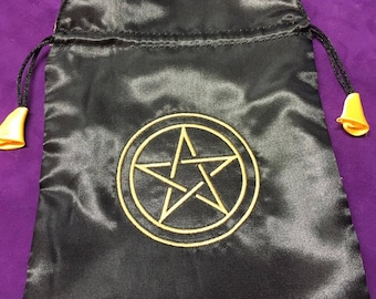 Bag for tarot or runes of black satin with  pentacle embroidered I wicca I witches I pagan I tarot I clarividencia I