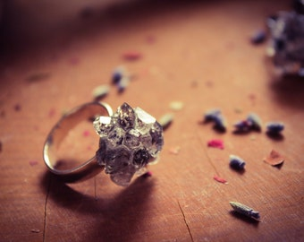Herkimer Diamond Ring, Herkimer Ring, Black Diamond Ring, Druzy, Druzy Ring, Christmas, Stocking Stuffer, Crystal Cluster, Cluster Ring