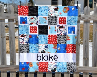 Personalized Baby Quilt for Boy, Custom Baby Quilt, Blue and Red Baby Boy Quilt, Modern Patchwork, Toddler Quilt, Baby Boy Blanket, Pirates