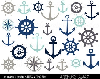 Anchor Clipart Clip Art, Nautical Clipart, Helm Clipart, Sailing Ocean Seaside Sailor Ship - Commercial & Personal - BUY 2 GET 1 FREE!