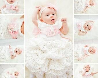 Maddy's Blessing Dress, Christening Dress, White Baby Dress, Newborn Dress, Infant Dress, Baby Shower Gift, Crochet Baby Dress, Newborn Gown