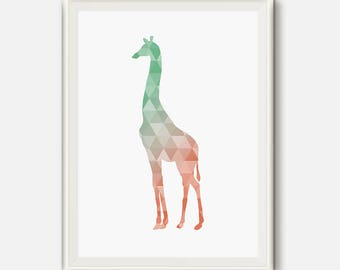 Coral and mint decor, coral nursery, Mint and coral Art, Giraffe print, Geometric Art, Giraffe poster, animal baby prints, printable art