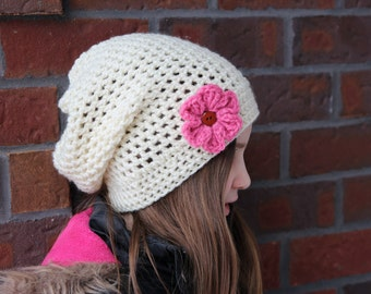Slouch Hat with Flower, Crochet Slouch Hat, Kids Slouch Hat, Women's Slouch Hat