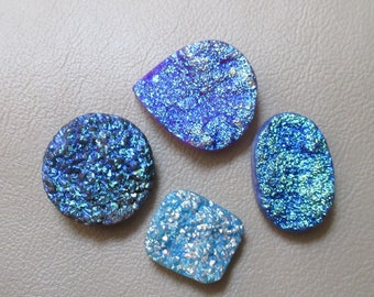 Blue Color Druzy Agate 4 Piece Lot Mix Shape Crystal Druzy Natural Geode Druzy size 17 x 19 to 24 x 27 mm Druzy Pendant   940