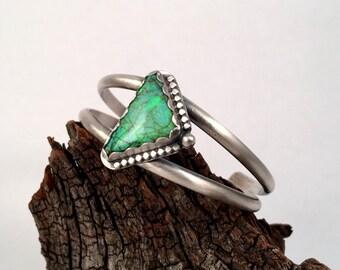 Sterling Silver Cuff, Opal Cuff, Monet Opal, Boho Cuff, Cultured Opal Bracelet, Triangle Cuff, Sterling Silver Bracelet, Silver Bangle