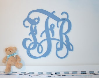 "Wooden monogram 24"" painted wooden monogram wall decor Personalized nursery monogram  wedding monogram  Large monogram above crib"