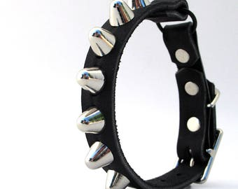 Leather Cat Collar, Tough Kitty Gentle Spikes, Size to fit a 8-10in Neck, EcoFriendly, Biker Style Black Leather, Punk, OOAK