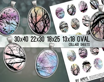 Digital Collage Sheet  30x40 22x30 18x25 13x18  Oval Tree Branches Images for Glass and Resin Pendants Cameos Paper Craft
