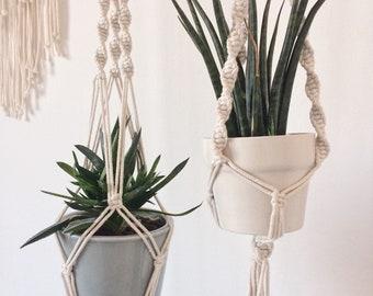 Hanging macrame plant hanger