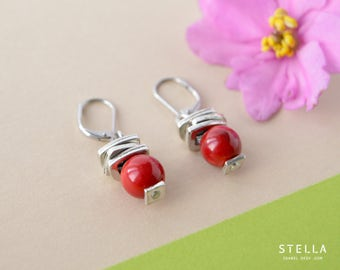 Red coral earrings, stacked charms, red coral beads, steel lever back, red modern earrings, silver stacked charms, red gift women. stella