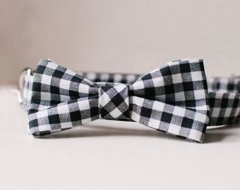 Dog bowtie collar, black and white gingham bowtie dog collar, dog collar with detachable bowtie, plaid dog bowtie collar