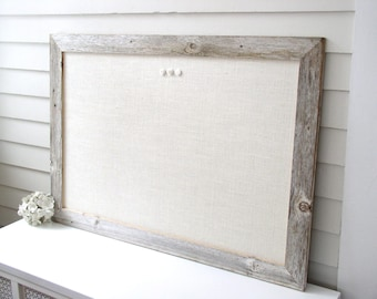 Barnwood Frame MAGNETIC Bulletin Board Reclaimed Recycled Weathered Gray Rustic Barn Wood 29.5x41.5 Handmade Frame Ivory WHITE Burlap Fabric