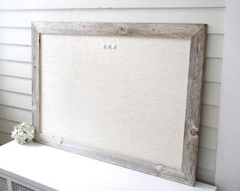 Barnwood Frame MAGNETIC Bulletin Board Reclaimed Recycled Weathered Gray Rustic Barn Wood 29.5x41.5 Handmade Frame Ivory WHITE Burlap Fabric
