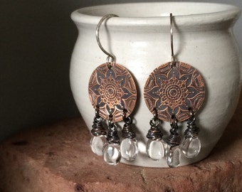 Clear Crystal Fringe & Rustic Copper Mandala Earrings - BOHO / Bohemian / Gypsy Fashion - Wire Wrapped Polished Quartz Jewelry Gifts for Her