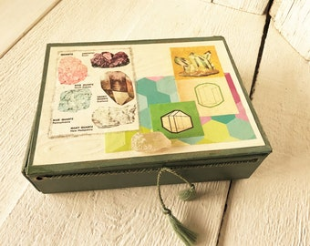 Vintage treasure box embellished rocks minerals crystals green pastels/ free shipping US