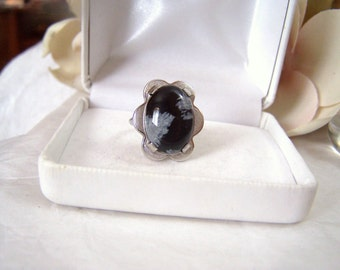 Obsidian Statement Ring Sterling Authentic Vintage Clark and Coombs Hallmarked Artisan Altered Genuine Gemstone