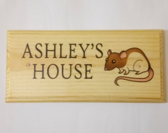 Personalised Rat / Mouse House Plaque / Sign / Gift - Pet Cage Animal Home