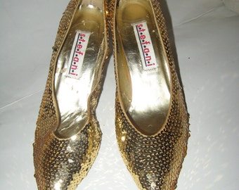 vintage 80s  gold sequin high heel Shoes by Stefani with Leather Soles - Women's US 7.5