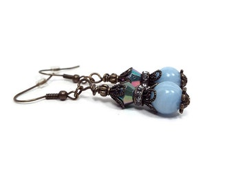 Light Blue Earrings, Drop Earrings, Vintage Style, Antiqued Brass, Rhinestone Beaded,  Lever Back or Hook