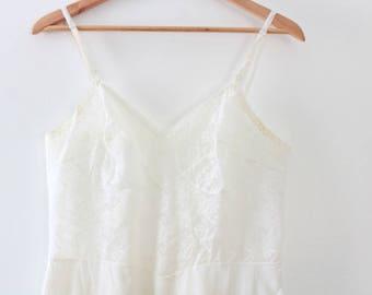 Vintage Slip, White Slip, White Lace Slip, Full Slip, White Full Slip, Sheer Slip, Lace Slip Vintage Lingerie Vintage Pink Slip Vintage Lace
