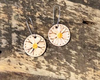 Happy Springtime Daisy Leather Earrings