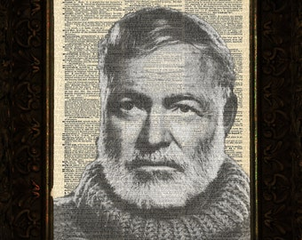 Ernest Hemingway Portrait on Antique Dictionary Page, art print, Wall Decor, Wall Art Mixed Media Collage