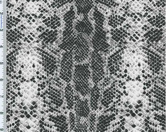 Black/Gray Reptile Skin Print Knit, Fabric By The Yard