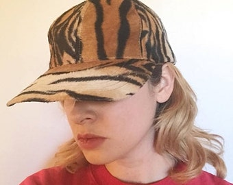 SHOP SALE Vintage 90s Tiger Faux Fur Rad Baseball Hat