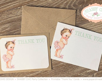 INSTANT DOWNLOAD - Printable 'Thank You' note cards - Shabby Chic, Vintage, Party, First, Birthday, Baby, Shower, Thanks - PDF, You Print