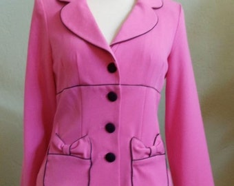 "Vintage 80's Heart Soul Hot Pink Long Sleeved Jacket Accented with Black Piping Bust 35"" Waist 33"""