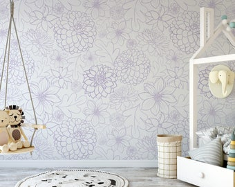 Small Violet Dahlia Removable Wallpaper // Purple Flower Peel and Stick Wallpaper // Self-Adhesive Reusable Wall Mural