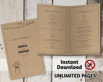 Printable Wedding Ceremony Book Template - Unlimited Pages Multi-page Folded Program Booklet, Rustic Mason Jar Kraft Paper, Instant Download