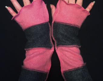 Upcycled Grey Pink Super Soft Cashmere Fingerless Gloves Arm Warmers Armwarmers Recycled Sweater Wristwarmers Repurposed