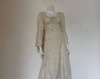 70s Gunne Sax Muslin Lace Corset Dress crystals med/large