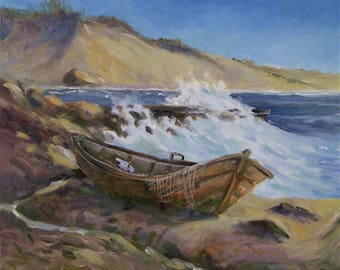 Stranded Boat,12x12 Original Oil Painting On Canvas,One of a Kind,Not a Print