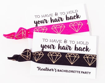 PERSONALIZED Bachelorette Party Hair Tie Favors | Gold Diamond Bachelorette Party Favor Hair Ties, Wedding + Bridal Shower Favor Hair Ties