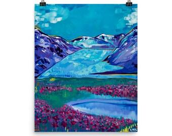 Matte Mendenhall Glacier, Juneau print | Alaska Painting