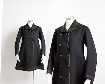Antique Wool Coat - 1800s Victorian Double Breasted 19th Century - XS Extra Small