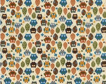 Mini Owls cream Fat Quarter Cut, Timeless Treasures - Owl Fabric