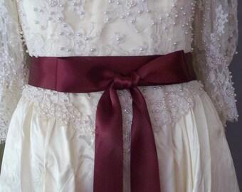 Burgundy Wine Wedding Satin Ribbon Sash Belt 1 1/2 inch Double Face Satin Ribbon Sash, Bridal Bridesmaid Sashes, Flower Girl Sash