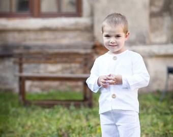 Boy linen pants - Baby boy linen trousers - Boy white linen pants - Ring bearer linen outfit - Boy baptism outfit - Christening linen pants
